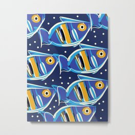 Blue Fishes of Cannes Pattern Art Metal Print