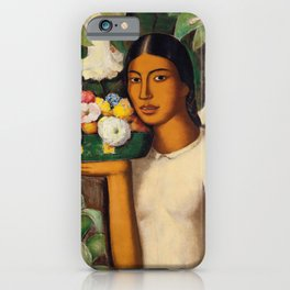 Mujer con Fiores (Bell Flowers, Dahlia & Calla Lilies) by Alfredo Martinez iPhone Case