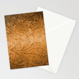 Golden Tan Tooled Leather Stationery Cards