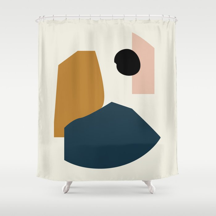shapes study shower curtain for university dorm bathroom