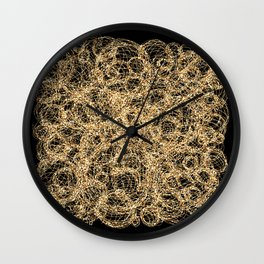 Gold Thread on Black | Abstract Brain Map 3 Wall Clock