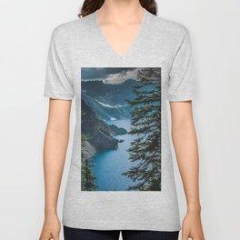 Blue Crater Lake Oregon in Summer Unisex V-Neck