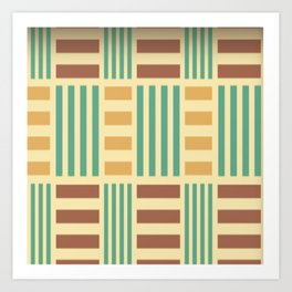 Check Pattern Green Blue Checks Art Print