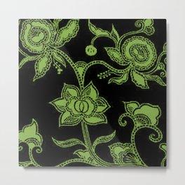 Vintage Floral Greenery and Black Metal Print