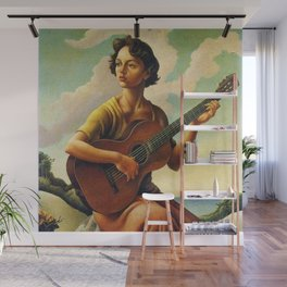Classical Masterpiece 'Jesse with Guitar' by Thomas Hart Benton Wall Mural