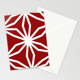 CUBIC FLOWER PATTERN - red Stationery Cards