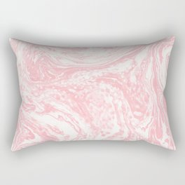 Elegant coral pink white watercolor abstract marble Rectangular Pillow