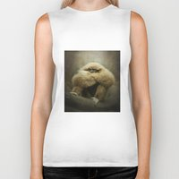 study Biker Tanks featuring Study of a Gibbon - The Thinker by Pauline Fowler ( Polly470 )
