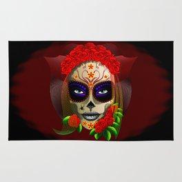 Skull Girl Dia de los Muertos Portrait Rug