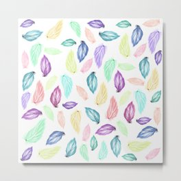 Modern colorful boho watercolor feathers hand painted pattern Metal Print