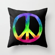Rainbow Watercolor Peace Sign - Black Background Throw Pillow
