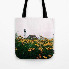 Portland Headlight and Flowers Tote Bag