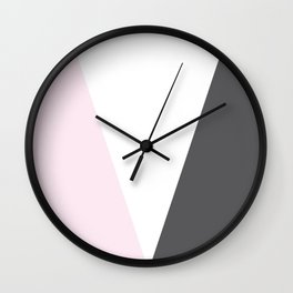 pink and gray geometric Wall Clock