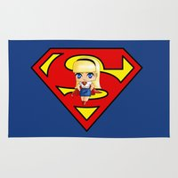 supergirl Area & Throw Rugs featuring Chibi Supergirl by artwaste