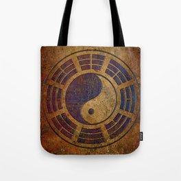 Purple Yin Yang Sign on Granite Tote Bag