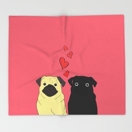 Pugs In Love Pink Throw Blanket