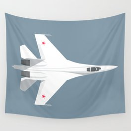 Su-27 Flanker Fighter Jet Aircraft - Slate Wall Tapestry