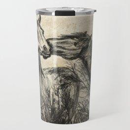 Kiss_Charcoal drawing vintage paper Travel Mug