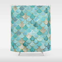 Moroccan Mermaid Fish Scale Pattern, Aqua,Teal Shower Curtain