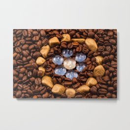 Coffee in the gold circle Metal Print