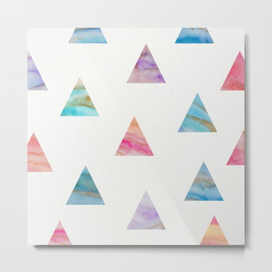 Marble Triangles Metal Print