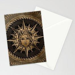 Golden Apollo Sun God on Greek Key Ornament Stationery Cards