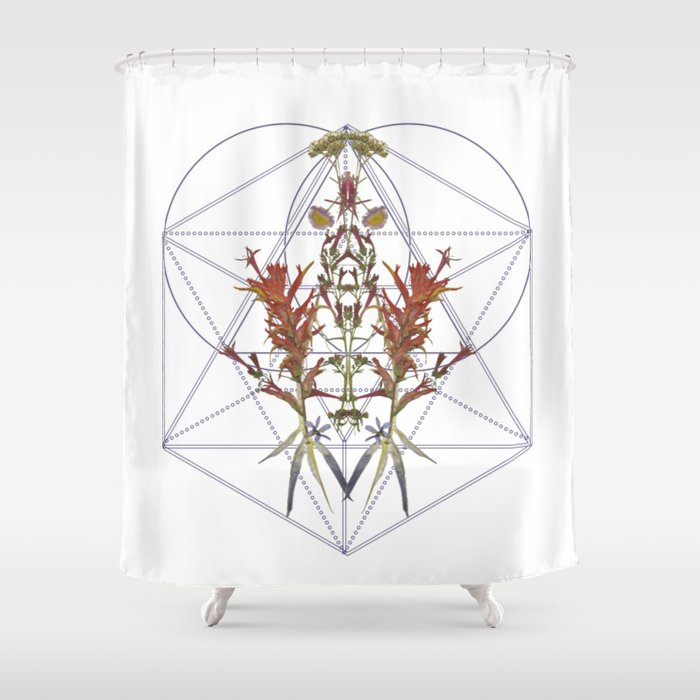 Oregon Flowers Sacred Geometry Shower Curtain