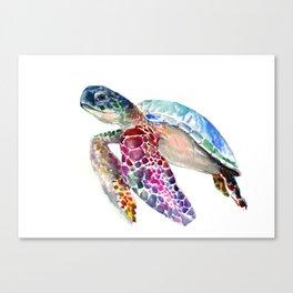 Sea Turtle, swimming turtle art, purple blue design animal art Canvas Print