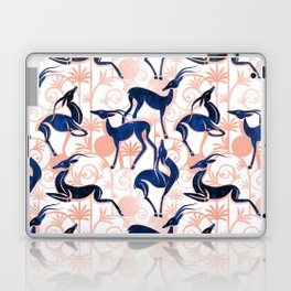 Deco Gazelles Garden // white background navy animals and rose metal textured decorative elements Laptop & iPad Skin