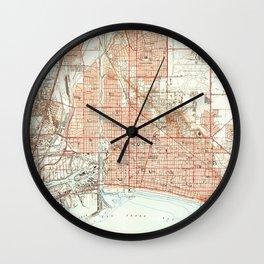 Vintage Map of Long Beach California (1949) 2 Wall Clock