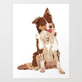 Brown Border Collie Art Print