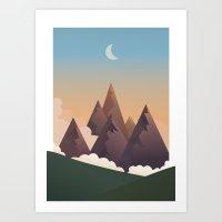 Dusk Mountainside Art Print
