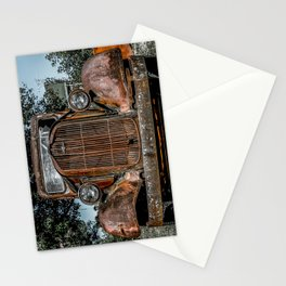 Grill of Rusted Pickup Paris Springs Missouri Route 66 Stationery Cards