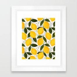 Mediterranean Summer Lemons Pattern Framed Art Print