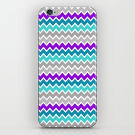 Teal Turquoise Blue Purple Grey Gray Chevron  iPhone Skin