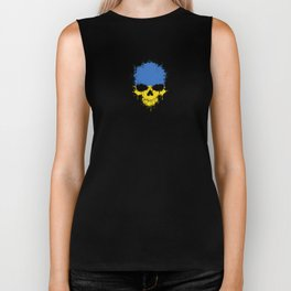 Flag of Ukraine on a Chaotic Splatter Skull Biker Tank