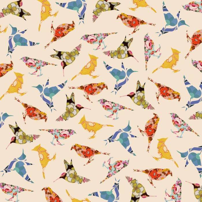 Vintage Wallpaper Birds Duvet Cover