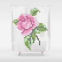 shabby chic Shower Curtains featuring Shabby Chic Pink Rose by Alisa Galitsyna