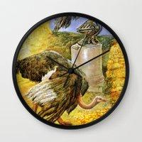 ostrich Wall Clocks featuring Ostrich by Natalie Berman