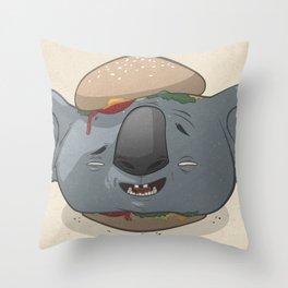 Koala Burger Throw Pillow