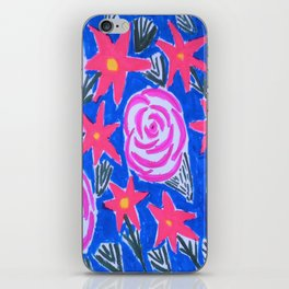 Classic Pink and Blue Floral iPhone Skin