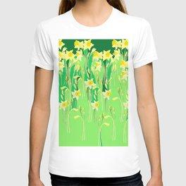 Daffodils in green T-shirt