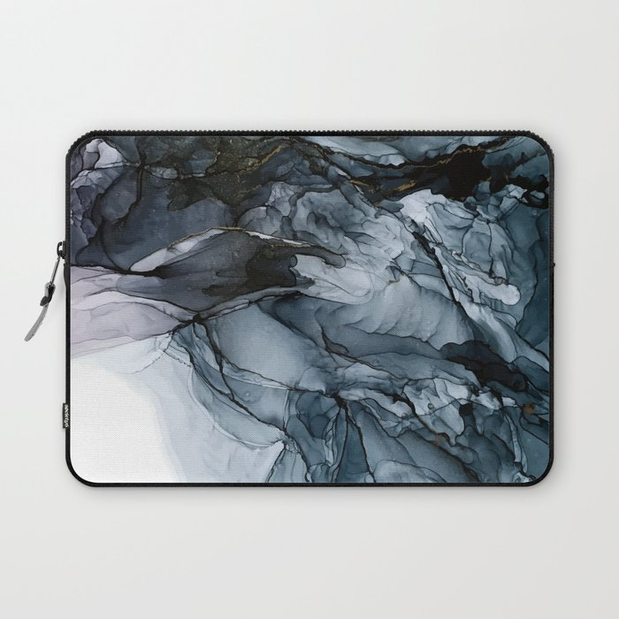 Dark Payne's Grey Flowing Abstract Painting Laptop Sleeve