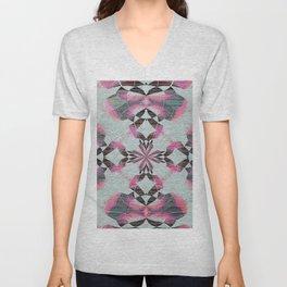 Organic Texture Mandala in Pink & Gray Unisex V-Neck