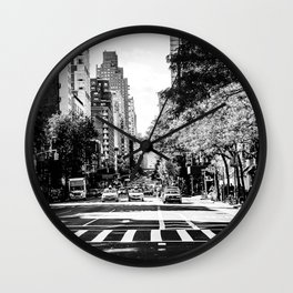 New York City Streets Contrast Wall Clock