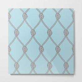Rope Knots Print- Light Blue Metal Print