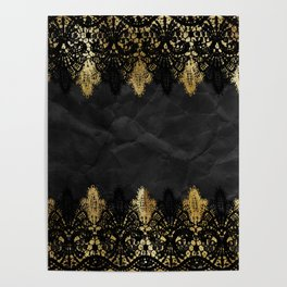 Simply elegance - Gold and black ornamental lace on black paper Poster