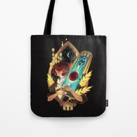 transistor Tote Bags featuring Like It's Written in the Stars - Transistor by Stephanie Kao
