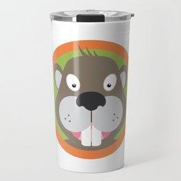 Cute Beaver head with orange circle Travel Mug