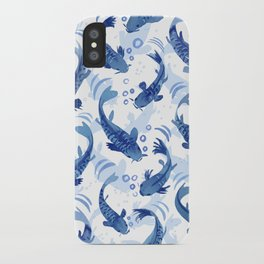 Koi Fish Dance / blue watercolor iPhone Case
